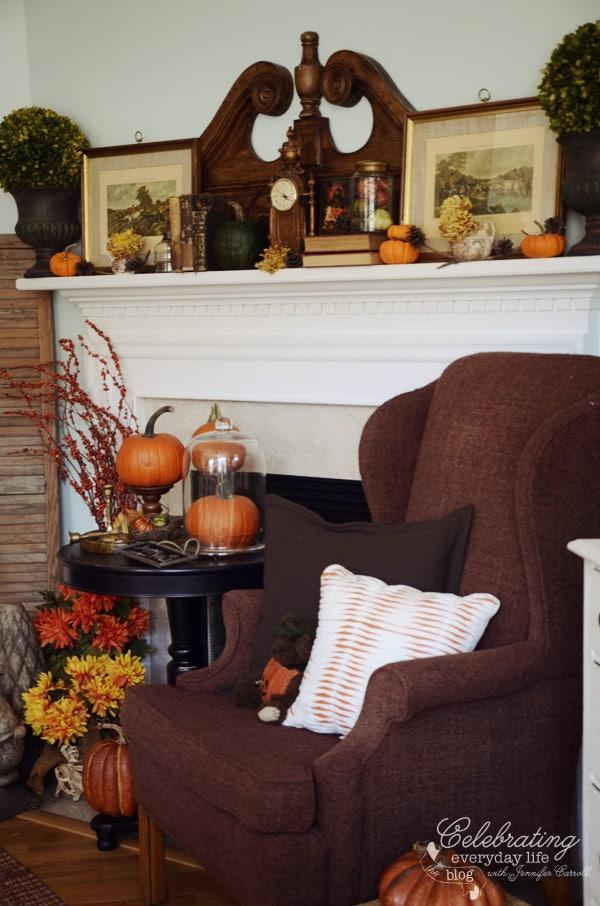 Fall fireplace scene, fall mantel decor ideas, fall decorating ideas, autumn decor ideas
