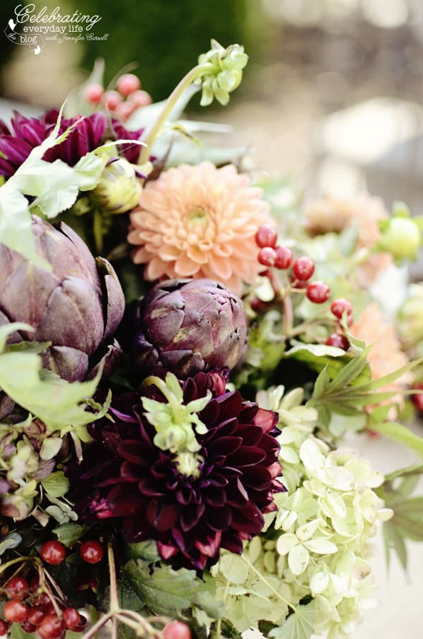 Autumn Flowers for Romantic Ralph Lauren inspired dinner for two, purple artichokes, mums, berries, hydrangea