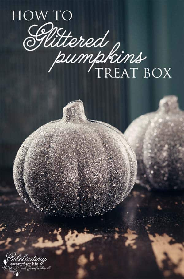 Glittered Pumpkin Treat Box Tutorial, How to Glitter Pumpkins Boxes, Painted pumpkin paper maiche
