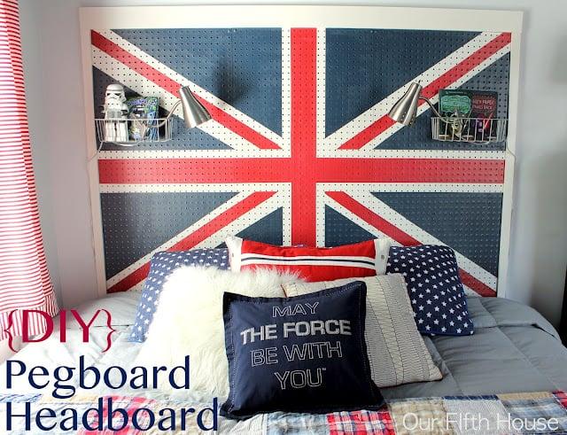 Union Jack Pegboard Headboard project
