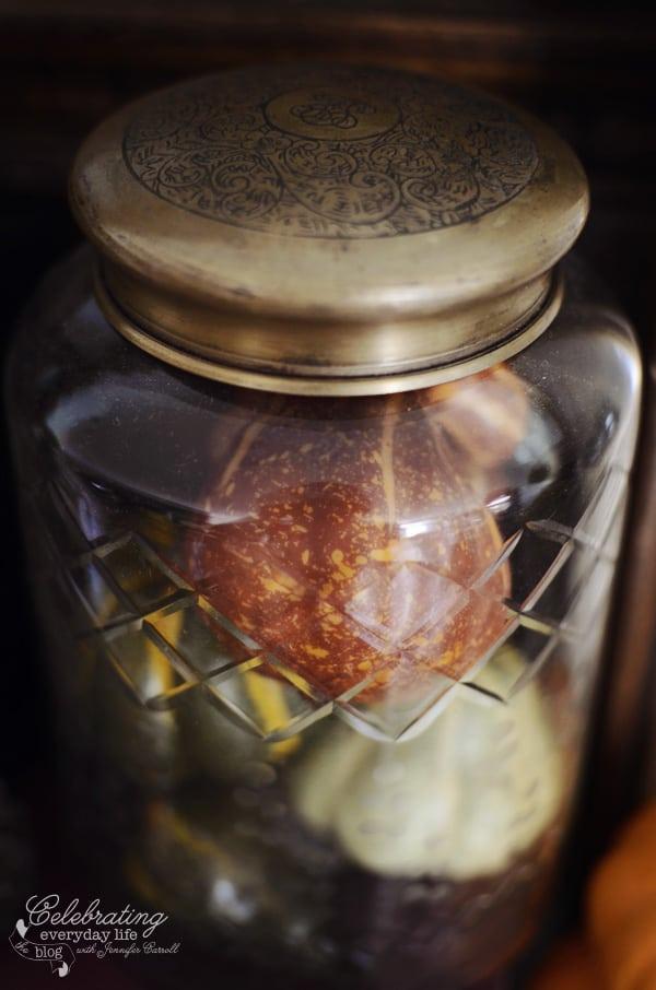 Anthropologie Cut-glass jar, fall decor ideas, autumn decor ideas