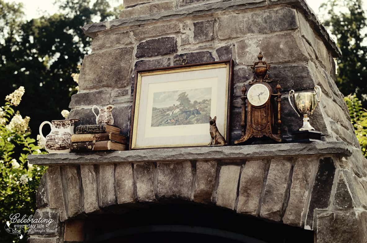 Stone Fireplace Mantel, Ralph Lauren inspired dinner for two, Tally-ho tete-a-tete, equestrian dinner