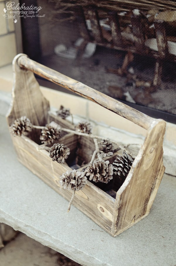 Pinecones, wood tool caddy, Ralph Lauren inspired dinner for two, Tally-ho tete-a-tete, equestrian dinner