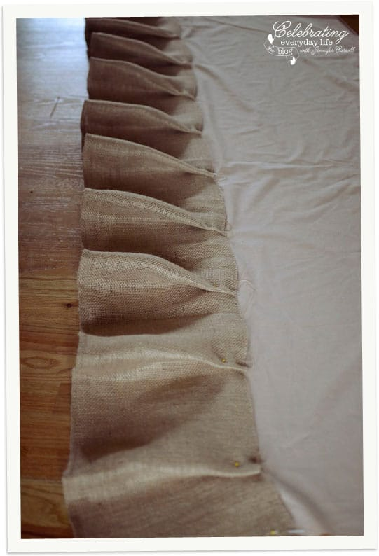 Pinned ruffles in How To Make a Ruffled Burlap Tablecloth Tutorial, How to Sew a Ruffled Burlap Tablecloth Tutorial