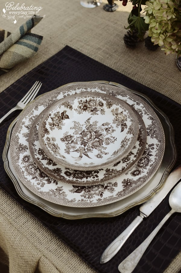faux-crocodile placemats and vintage flatware for Romantic Ralph Lauren inspired dinner for two