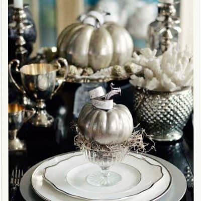 A Cinderella Inspired Elegant Halloween Dinner Party {Silver Pumpkin Decor}