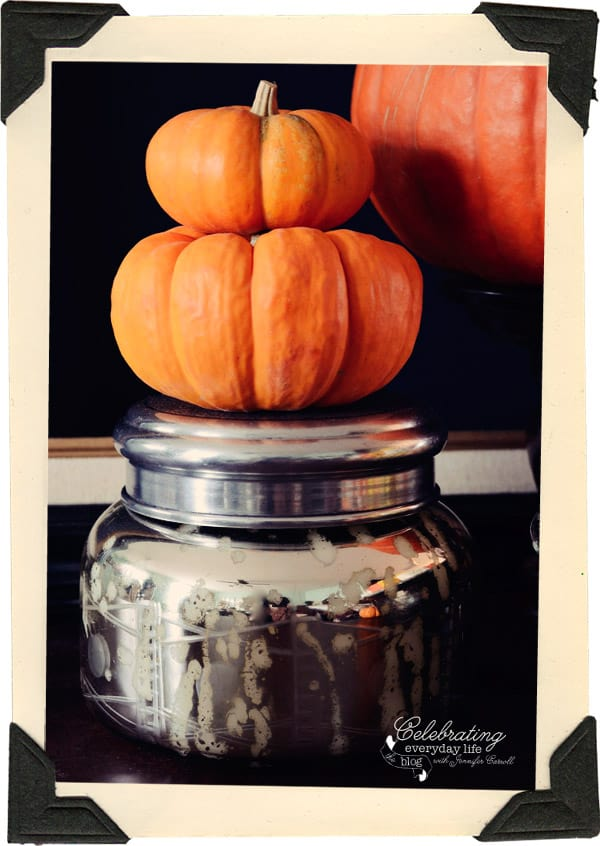 mini pumpkins, mercury glass candle, halloween decor ideas