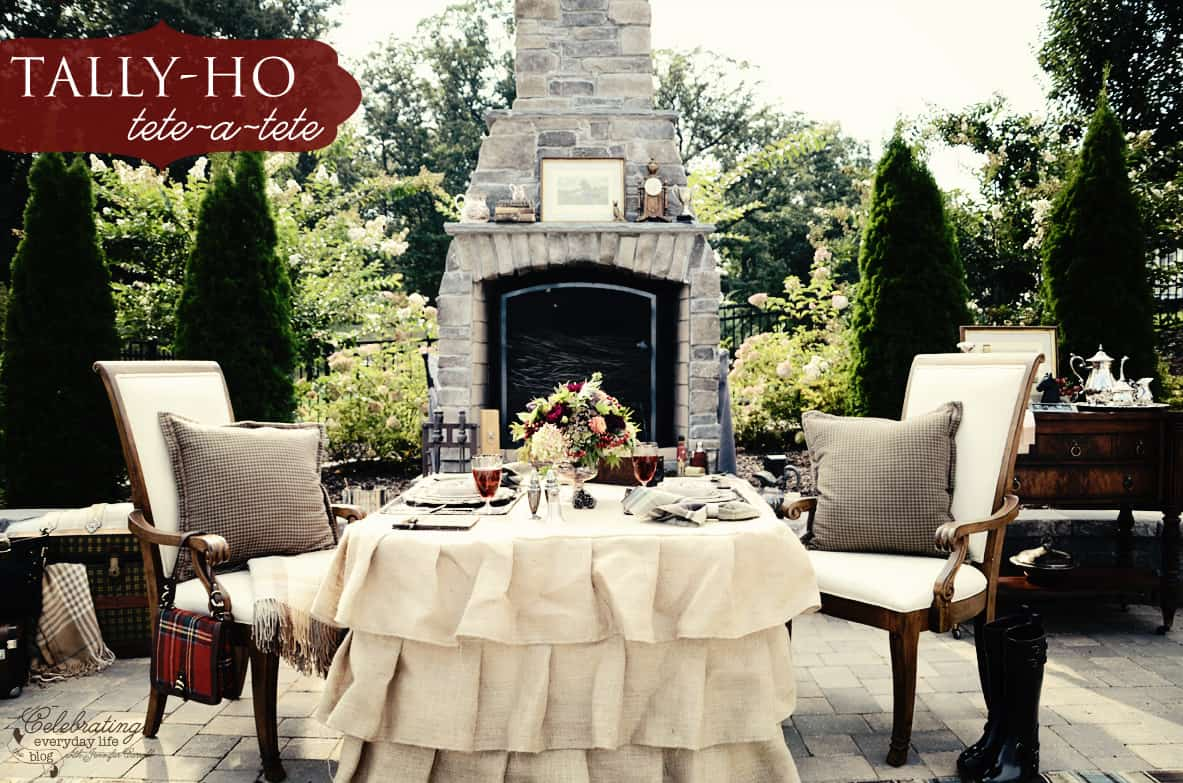 Tally-ho tete-a-tete, Romantic outdoor dinner for two, Ralph Lauren inspired dinner