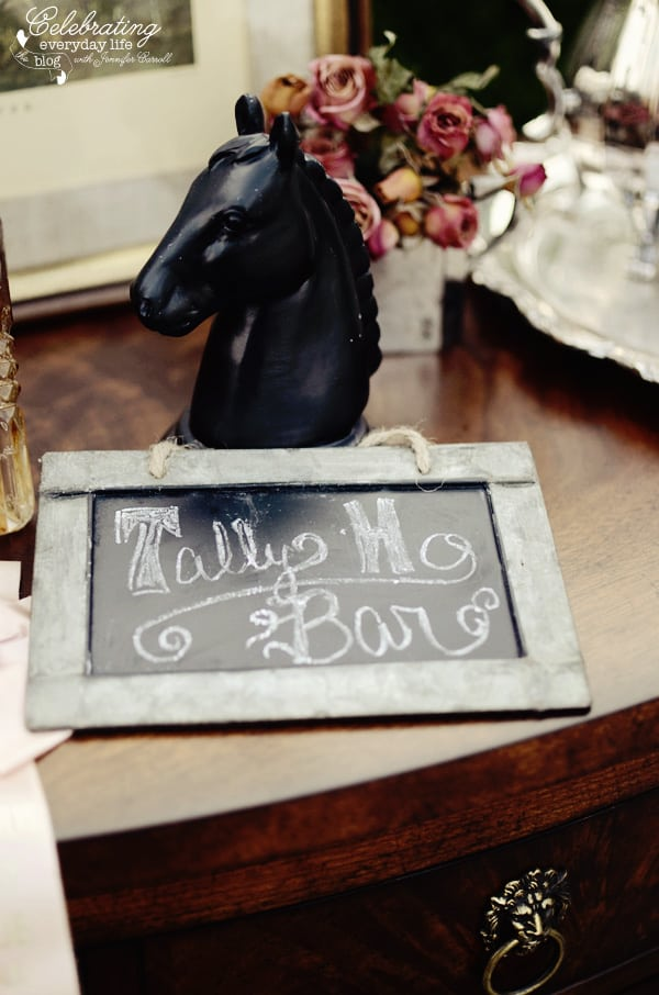 Tally Ho Sign for bar at my Ralph Lauren inspired dinner for two, Tally-ho tete-a-tete