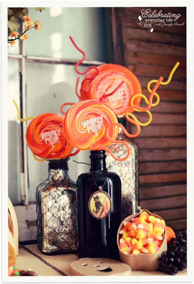 Whirly Pops, Curly Straws, Vintage bottles, vintage halloween pendant, Trick or Treat Display, Decorating for Halloween