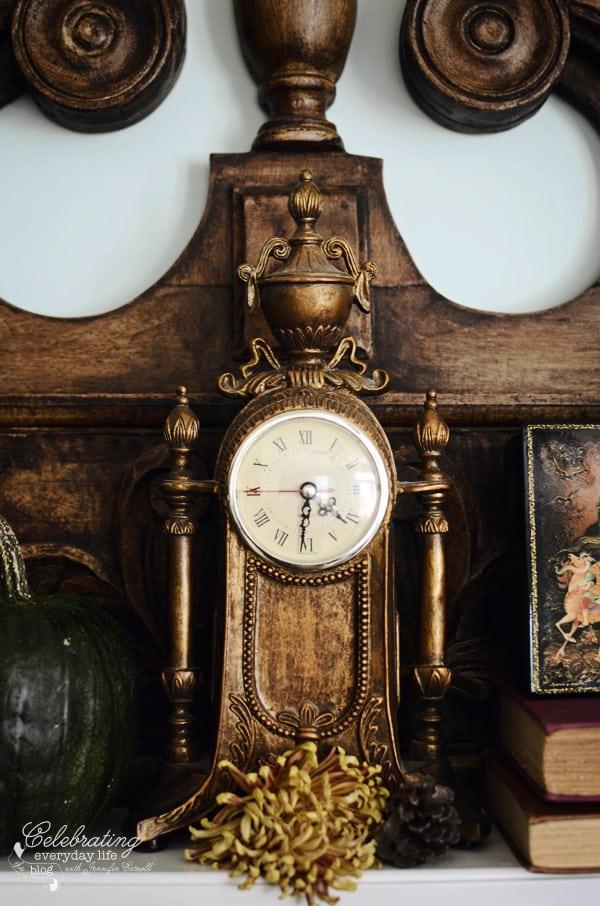 ornate clock, fall decor ideas, autumn decor ideas