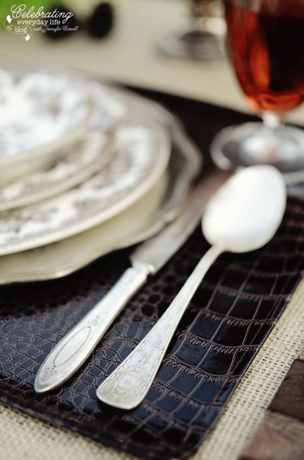 vintage flatware for Romantic Ralph Lauren inspired dinner for two