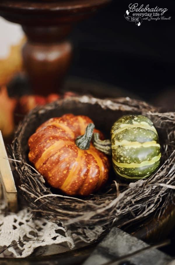 mini faux pumpkins, birdsnest, autumn decor ideas, fall decor ideas