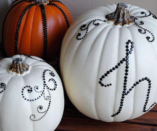 sequined monogrammed pumpkins from Making Lemonade Blog on Better Homes and Gardens