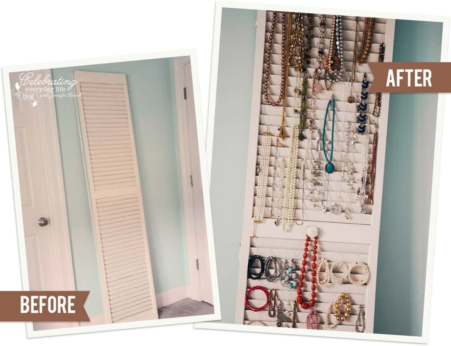 Before & After shutter as a Jewelry Organizer, how to organize necklaces, how to organize bangles, easy jewelry storage, easy jewelry organization