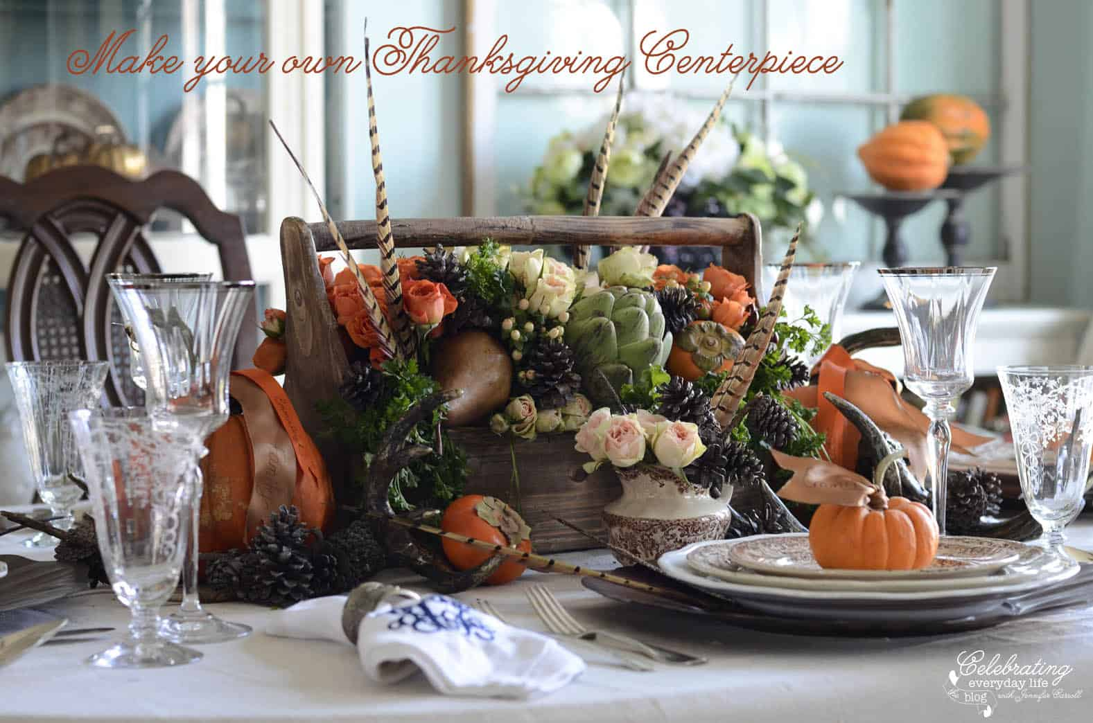 How to make your own Thanksgiving Centerpiece, pheasant feathers, fruit & vegetable centerpiece ideas, artichoke centerpiece