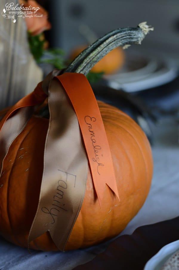 Gratitude Ribbons for Thanksgiving Centerpiece, how to make your own Thanksgiving centerpiece