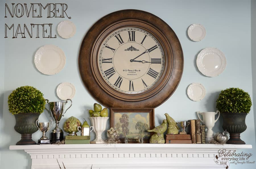 Clock Mantel, How to decorate a mantel, mantel decor ideas