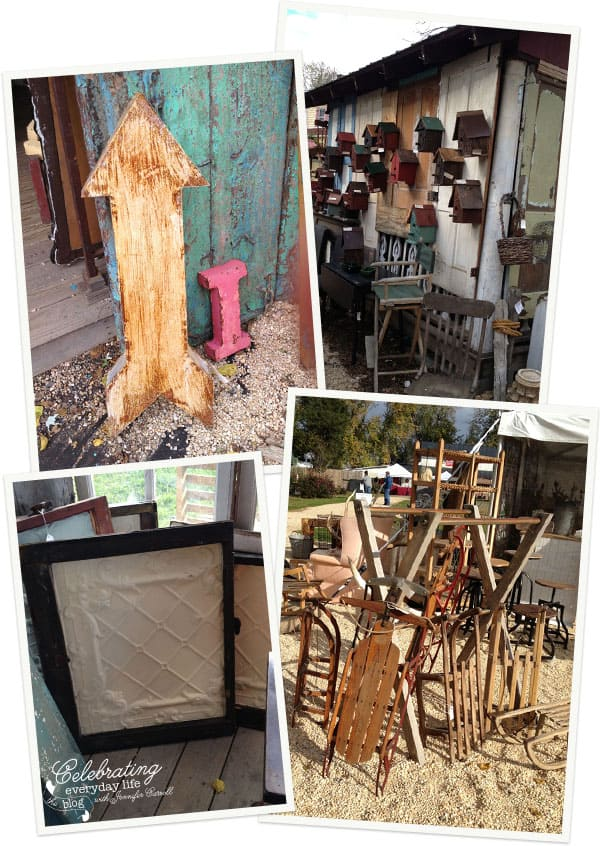 Rusted Arrow, Treestump birdhouses, oversized tin tiles, vintage sleighs