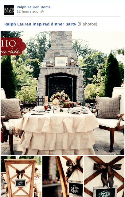 Ralph Lauren Inspired Dinner for 2 featured on Ralph Lauren Home Facebook page!