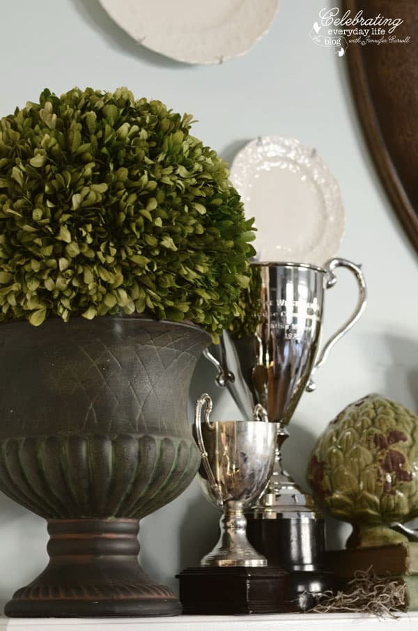 Trophies, Trophy decor, decorating with trophies, boxwood ball