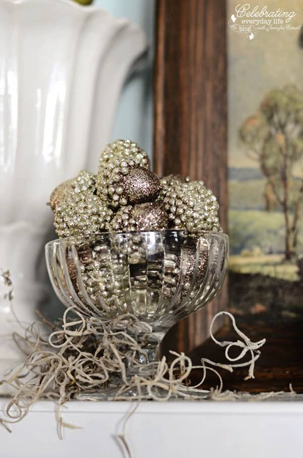 glitter acorn decorations