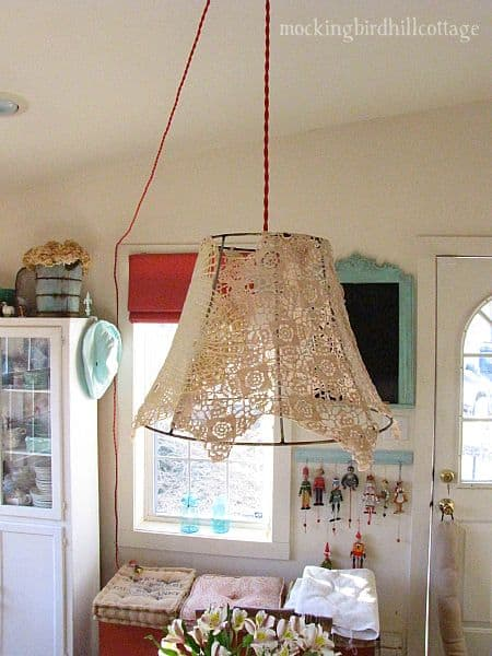 doily lampshade from Mockingbird Hill Cottage