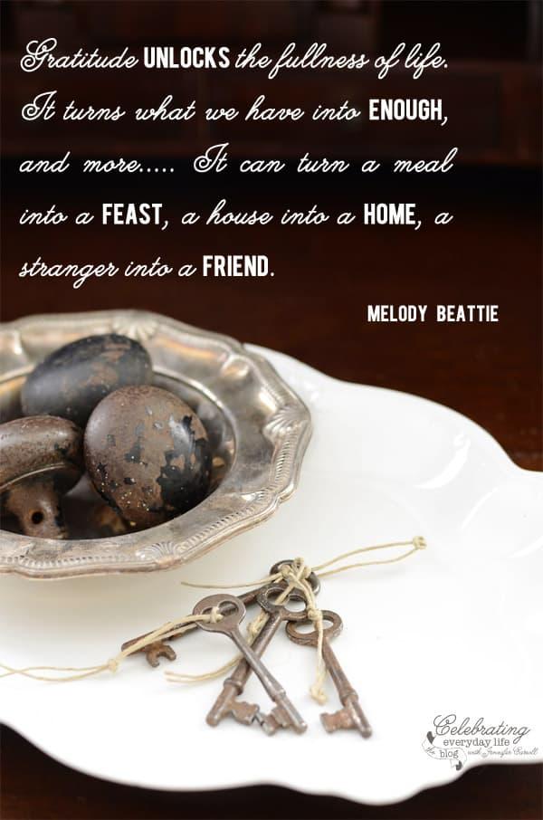 Gratitude unlocks the fullness of life quote, Melody Beattie quote, Gratitude quote, antique keys, antique doorknobs, inspirational quote, be encouraged quote