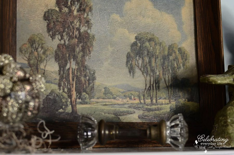 thrift store painting, farm landscape painting