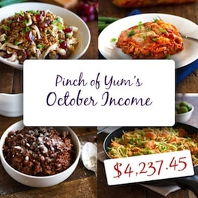 Pinch of Yum October Income Post