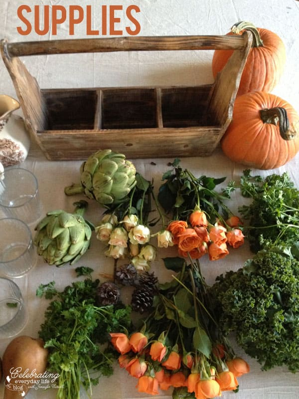 supplies to make your own Thanksgiving centerpiece