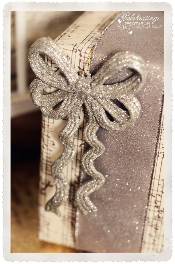 Glitter bow ornament gift embellishment