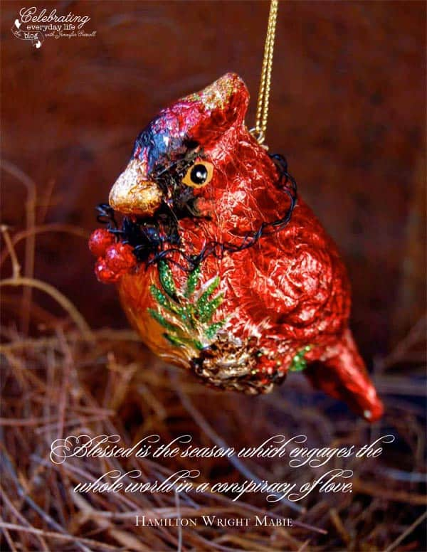 Cardinal ornament, conspiracy of love quote, Christmas quote