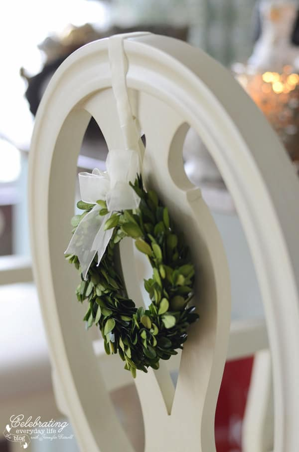 mini boxwood wreath on cream Martha Stewart Bar stool