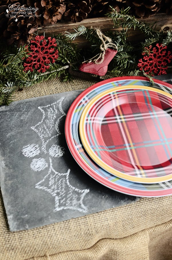 Slate Charger with chalk holly, plaid plates from Target