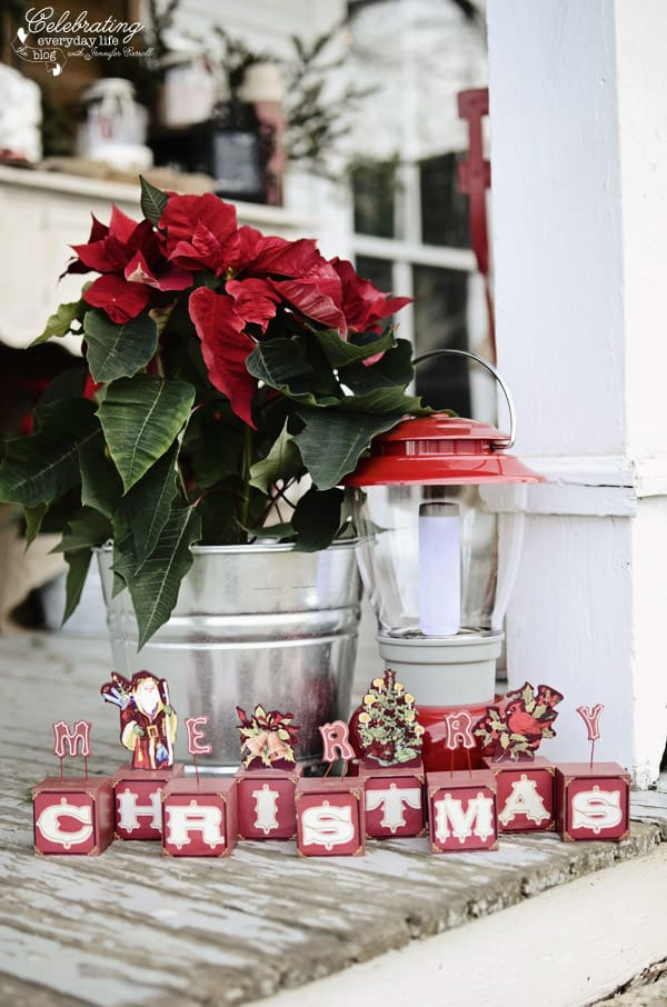 Merry Christmas Sign, poinsettia in galvanized tub, red lantern