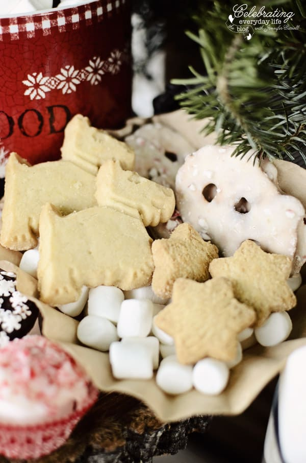scotty shortbread Cookies, star shaped shortbread cookies, peppermint white chocolate dipped pretzels