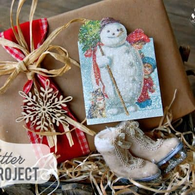 Vintage Inspired DIY Glitter Christmas Card Project {Easy Christmas Craft}