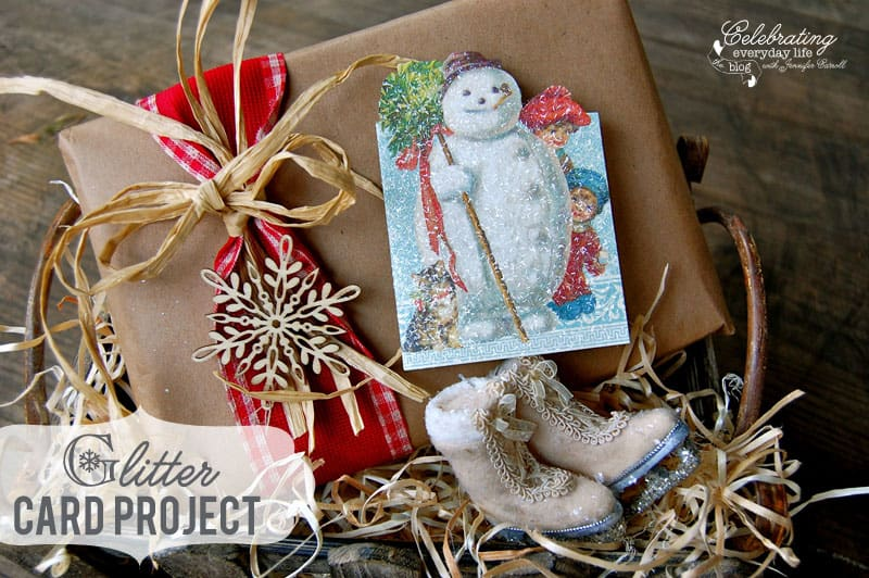 Vintage Inspired Glitter Christmas Card Craft, Easy Christmas Craft, How to Glitter a Card