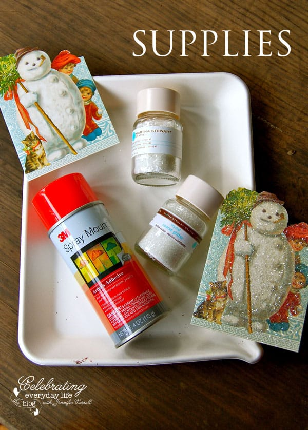 Vintage Inspired Glitter Christmas Card Craft, Easy Christmas Craft, How to Glitter a Card, Martha Stewart Glitter, Martha Stewart Glitter Tray