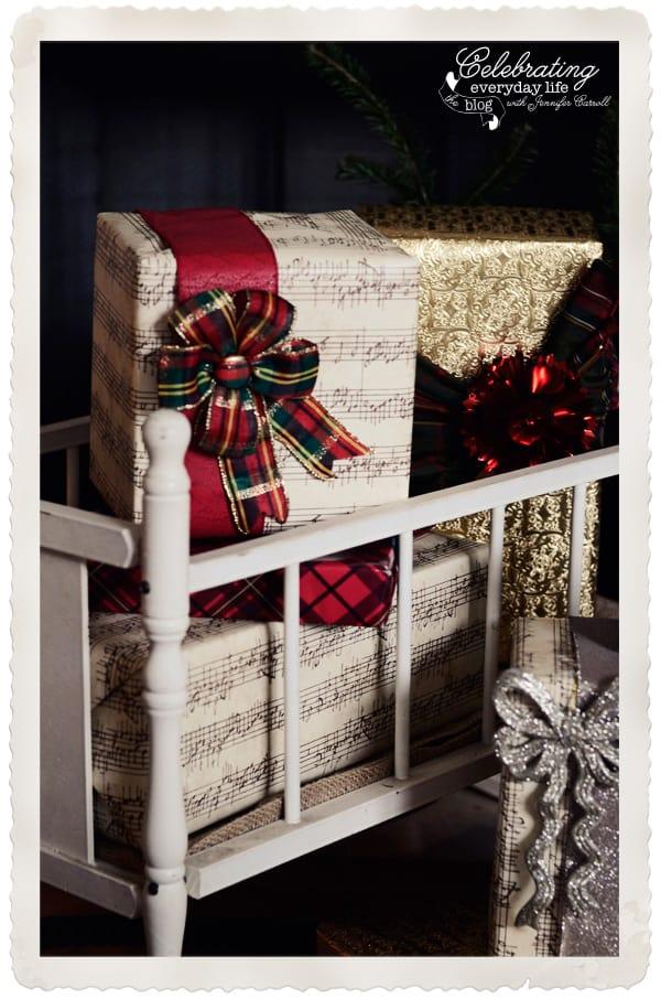 Vintage Babydoll crib, sheet music gifts, plaid Christmas bow