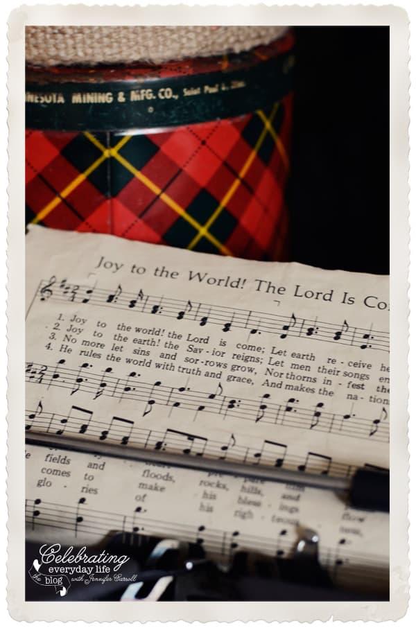Joy to the World sheet music in old typewriter