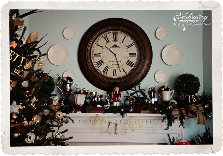 Christmas Mantel, Plaid Ribbon on Mantel, Equestrian Themed Mantel, Believe Mantel Garland, hanging plates