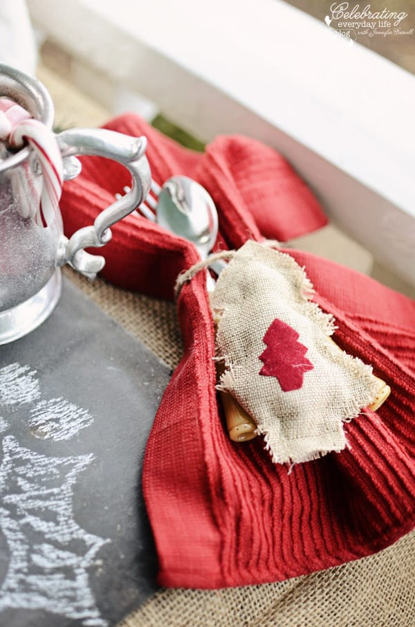 red dish towel napkin with simple burlap ornament