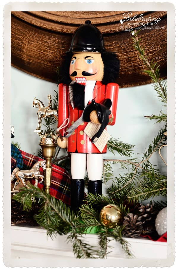 Equestrian nutcracker, Hunstman nutcracker, christmas mantel, equestrian mantel