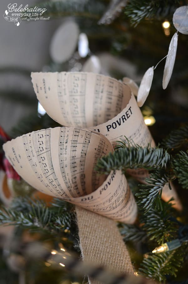 Angel Wings, Hunt Country Inspired Christmas Tree, Ralph Lauren Inspired Christmas Tree, Plaid Christmas Tree Decorations, Burlap Decorations, Believe, Pheasant Feather Christmas Tree, Capiz Shell Garland, Burlap Ribbon Garland, Vintage French Sheet Music Cones