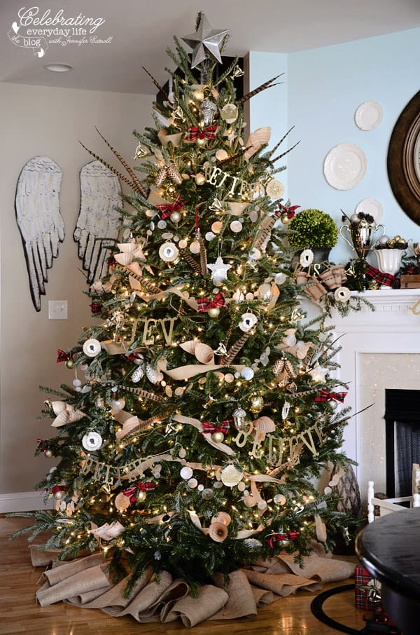 Hunt Country Inspired Christmas Tree, Ralph Lauren Inspired Christmas Tree, Plaid Christmas Tree Decorations, Burlap Decorations, Believe, Pheasant Feather Christmas Tree, Capiz Shell Garland, Burlap Ribbon Garland