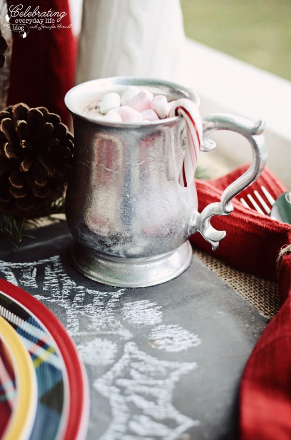 Peppermint Hot Cocoa in Pewter Mug, slate charger with chalk holly