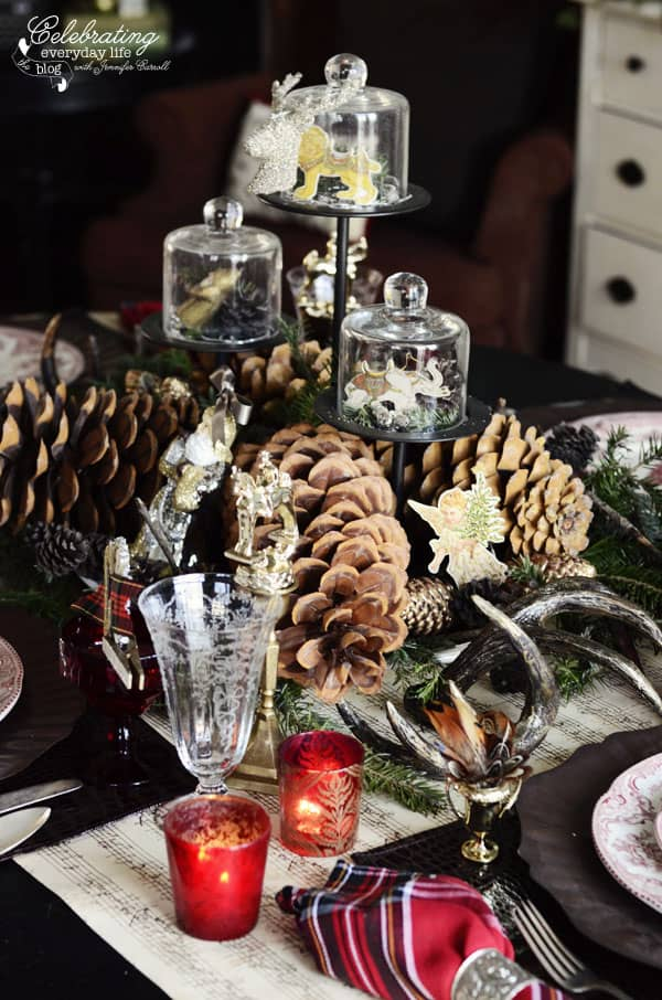 Christmas centerpiece, Pinecone centerpiece with glass cloches