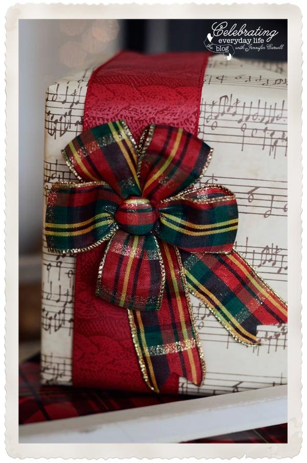 Caspari Red Plaid Christmas Bow